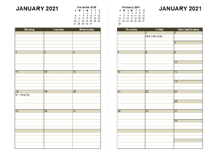2021 Two Page Monthly Calendar A3
