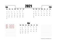 2021 UAE Quarterly Planner Template