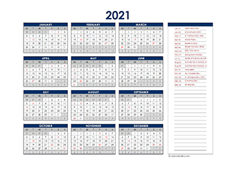 2021 UK Annual Calendar with Holidays