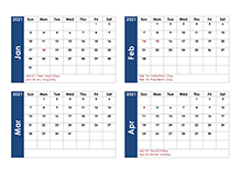 2021 Word Calendar Four Months Per Page