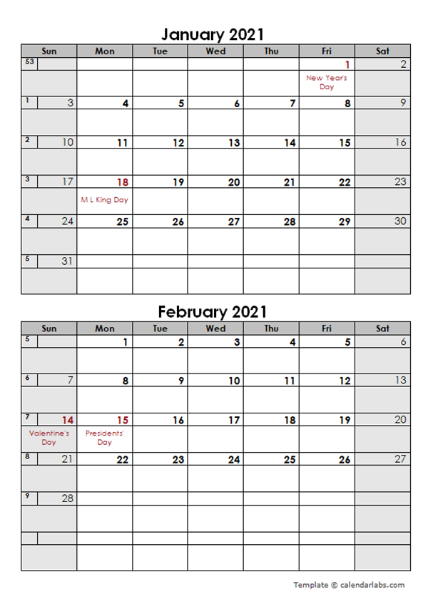 2021 Word Calendar Template Two Months in One Page