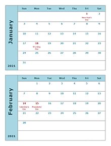 2021 Word Calendar Two Months Per Page