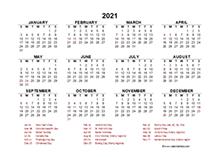 2021 Year at a Glance Calendar with Canada Holidays