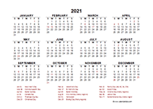 2021 Year at a Glance Calendar with South Africa Holidays