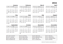 2021 Year Calendar Template with US Holidays