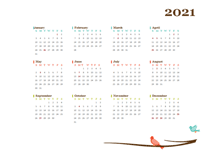2021 Yearly Australia Calendar Design Template