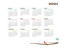 2021 yearly calendar bird template