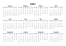 2021 Yearly Blank Calendar Template