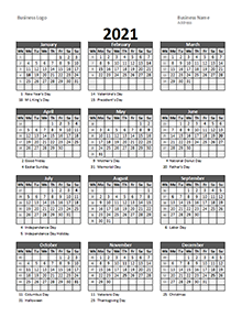 2021 Yearly Business Calendar with Week Number