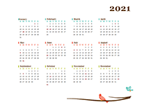 2021 Yearly Calendar Bird Template