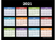 2021 Yearly Calendar For Powerpoint