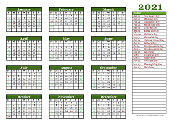 Printable 2021 Yearly Calendar Template   CalendarLabs