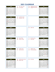 2021 Yearly Calendar Template Vertical Design