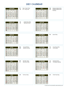 2021 Full Year Calendar Vertical Template