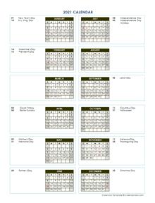 2021 Annual Calendar Vertical Template