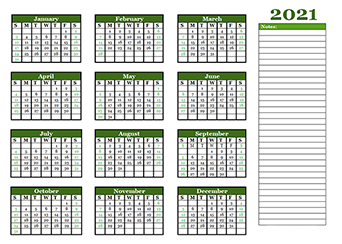 2021 yearly calendar template with blank notes