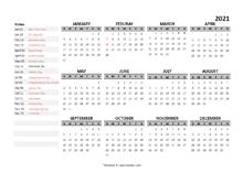 2021 Yearly Google Docs Calendar Template
