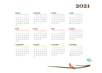 2021 Yearly Malaysia Calendar Design Template