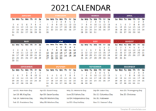 2021 Yearly Powerpoint Calendar Slide