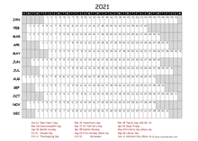 2021 Yearly Project Timeline Calendar Canada