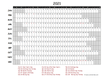2021 Yearly Project Timeline Calendar New Zealand