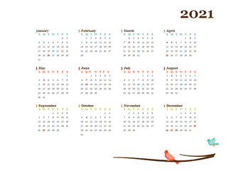 2021 Yearly Singapore Calendar Design Template