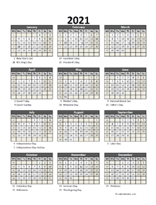 Editable 2021 Yearly Spreadsheet Calendar