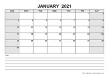 Blank January 2021 Calendar PDF