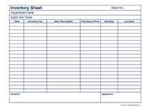 Business Inventory sheet