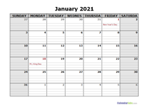 December 2021 Calendar Word