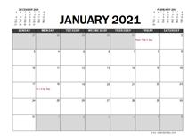 February 2021 Calendar Excel