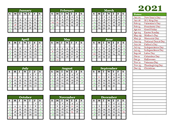 Free Editable 2021 Yearly Word Calendar