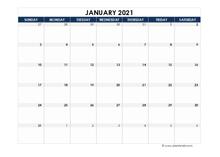 January 2021 Blank Calendar
