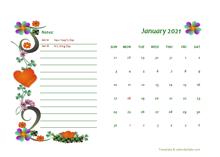 January 2021 Calendar Dates