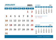 January 2021 Excel Calendar with Holidays