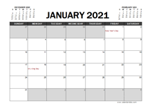 January 2021 Calendar Excel