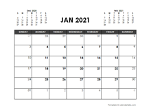 January 2021 Calendar Free Printable