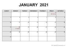 January 2021 PDF Calendar