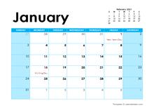 January 2021 Calendar with Holidays