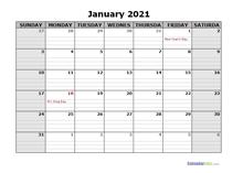 January 2021 Calendar Word