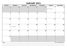 January 2021 Planner Excel