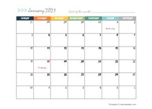 January 2021 Planner Template