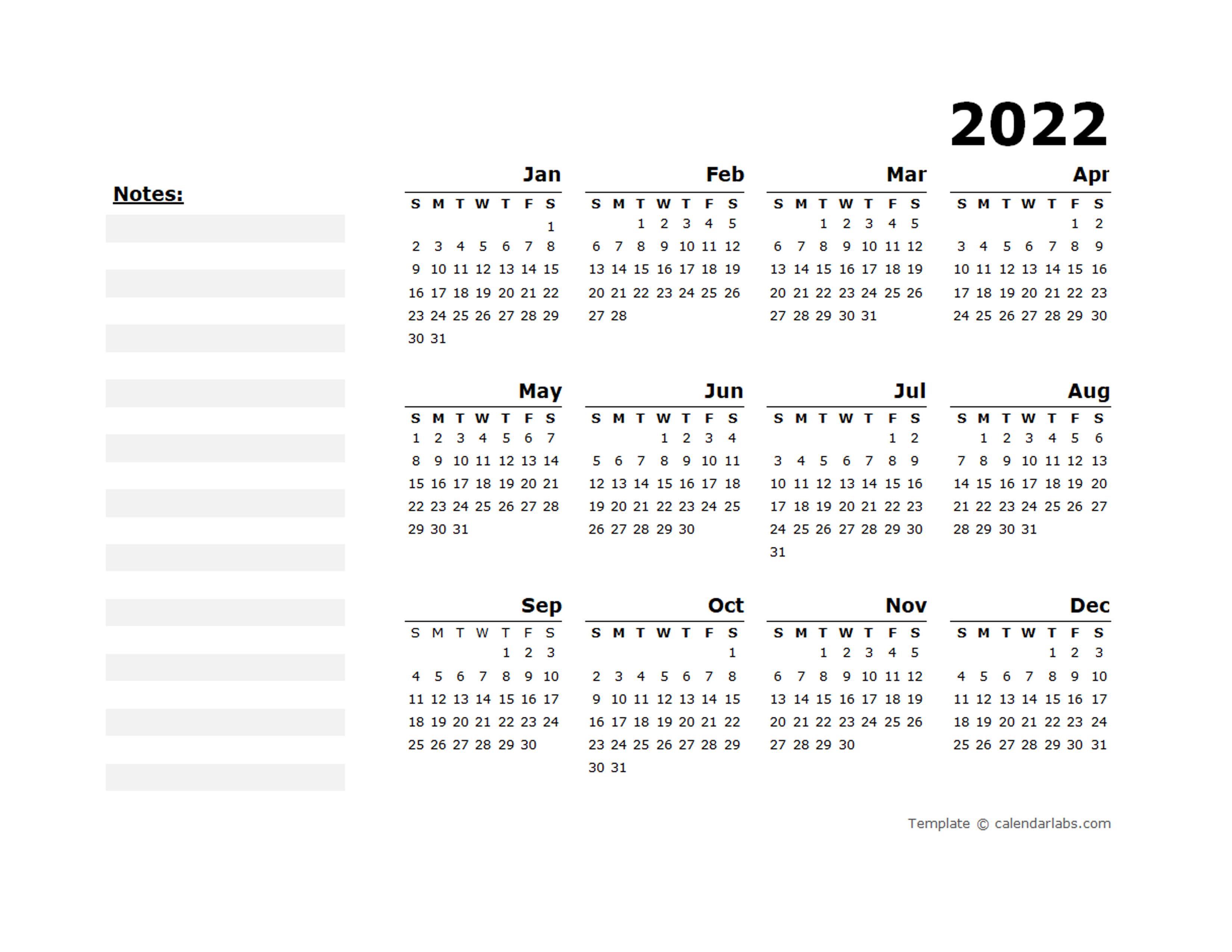 2022 Yearly Calendar Blank Minimal Design - Free Printable ...