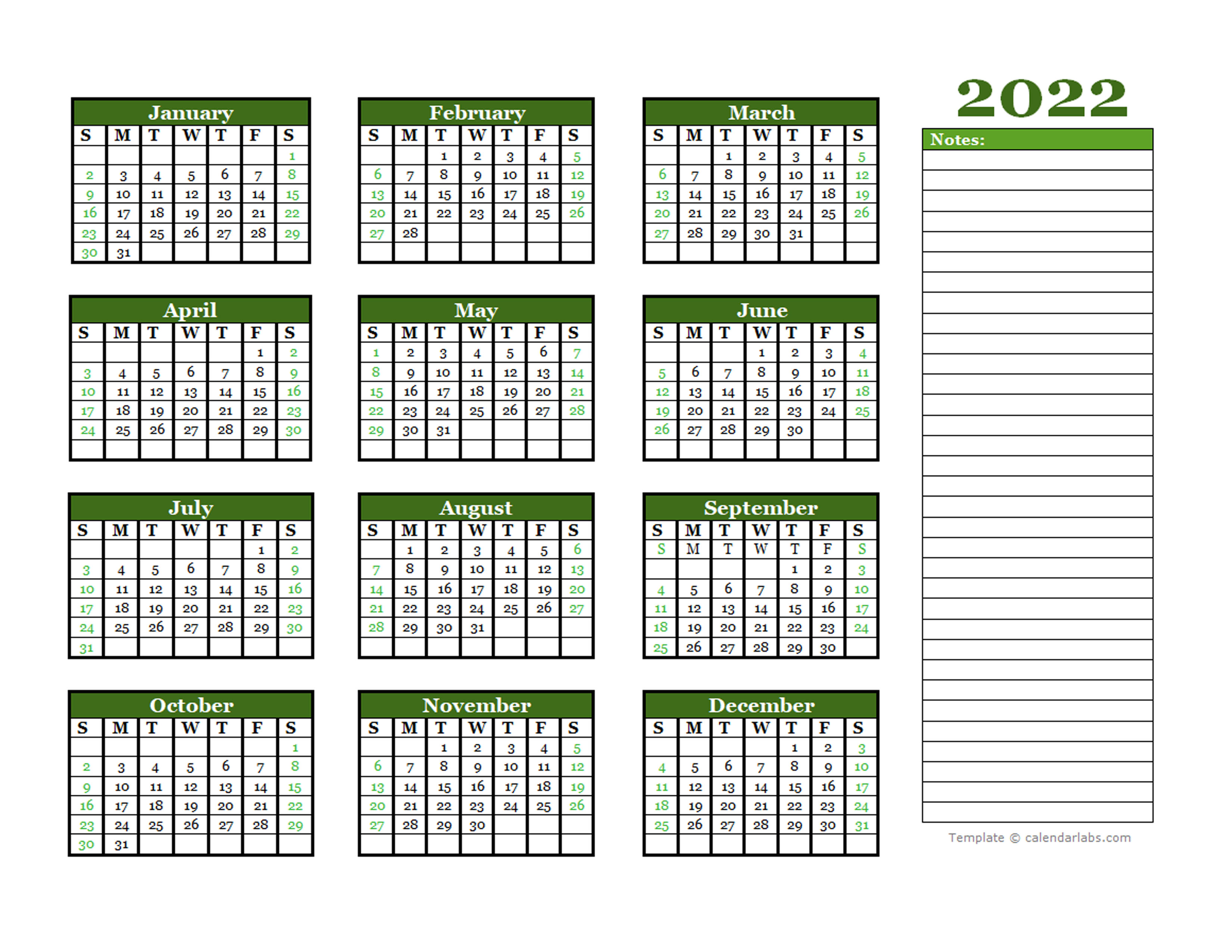2022 Yearly Calendar With Blank Notes - Free Printable ...