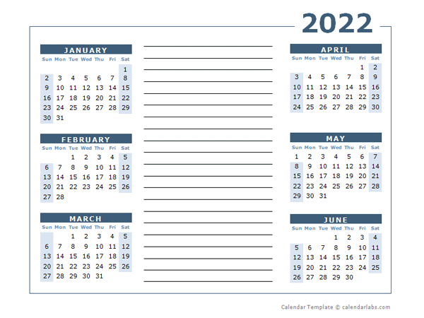 2022 Blank Two Page Calendar Template For 2022