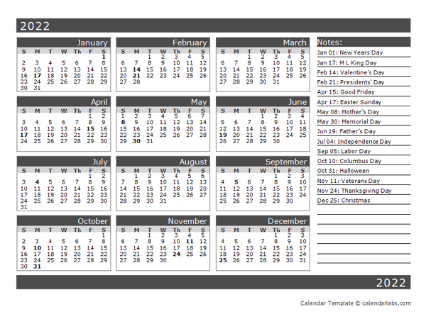 12 Month One Page Calendar Template For 2022