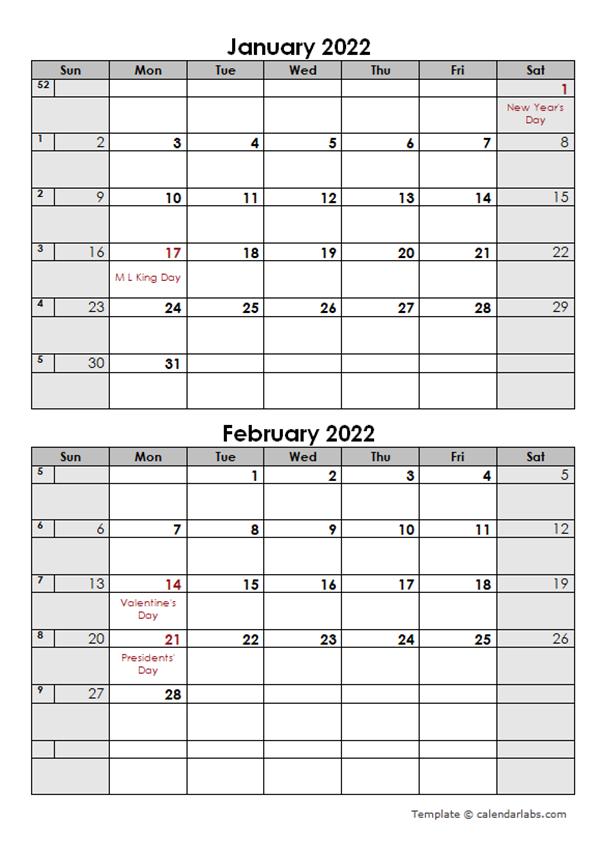 2 Month Calendar 2022.2022 2 Months Calendar Template Free Printable Templates