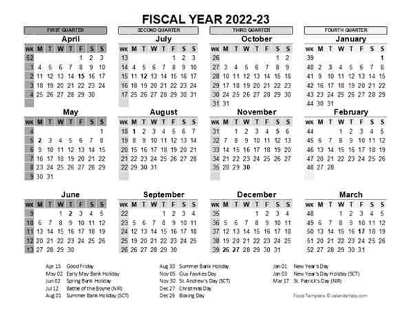 2022-23 Fiscal Year Calendar UK Template