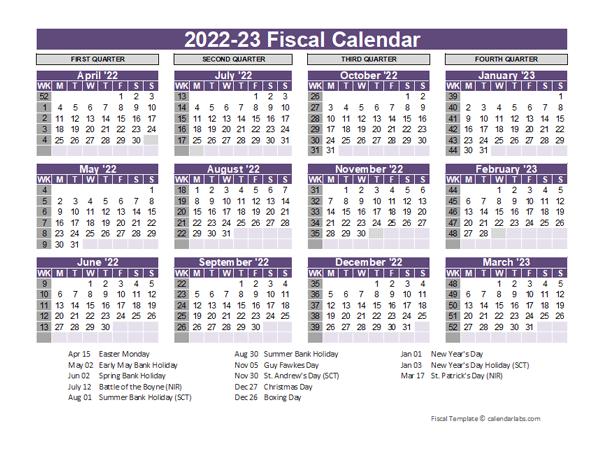 Calendar 2022 23.Uk Fiscal Calendar Template 2022 2023 Free Printable Templates
