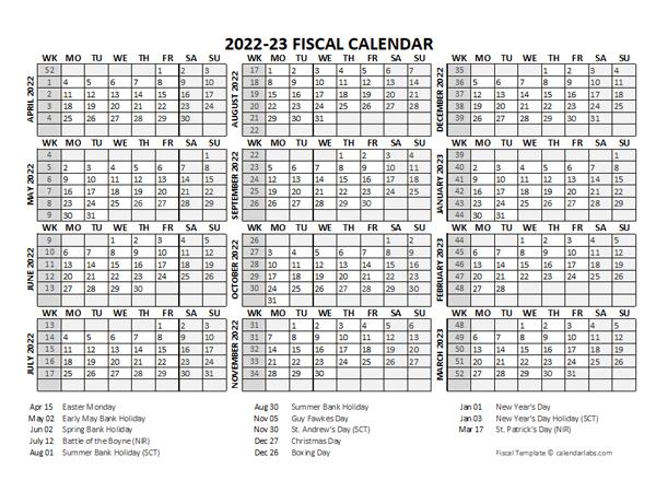 2022 Fiscal Calendar Template Starts At April